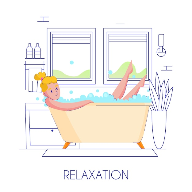 Woman hygiene flat composition with young blond lady relaxing in bath stylish outlined contour Free Vector