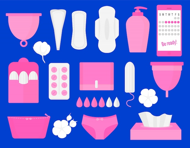 Woman hygiene products Premium Vector