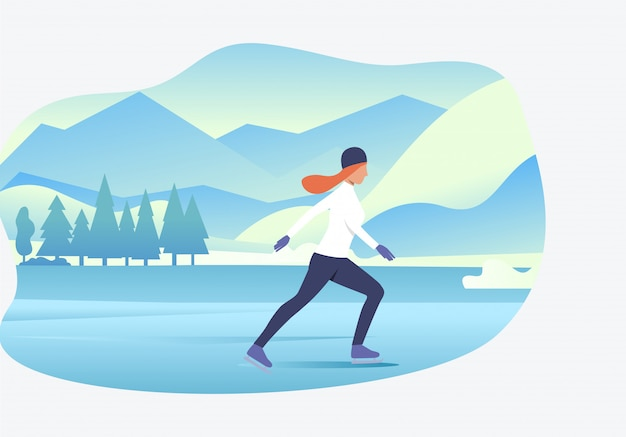 Woman ice skating with snowy landscape Free Vector