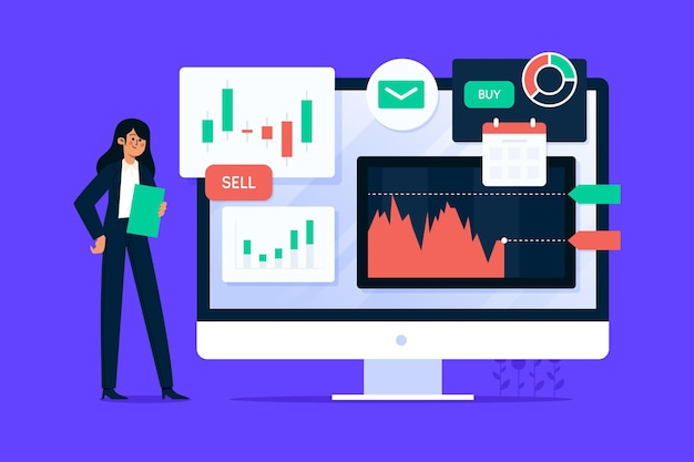 Woman illustrated with stock market analysis Free Vector