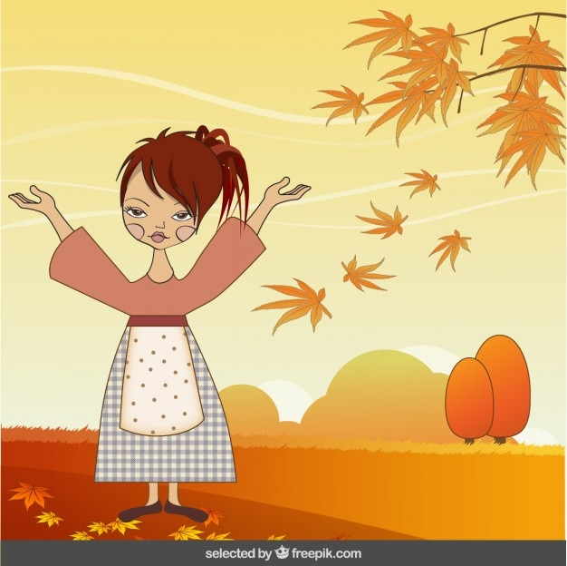 Woman illustration in autumn landscape