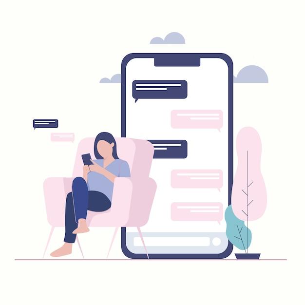 Женщина иллюстрация с handphone. онлайн чат мессенджер. Premium векторы