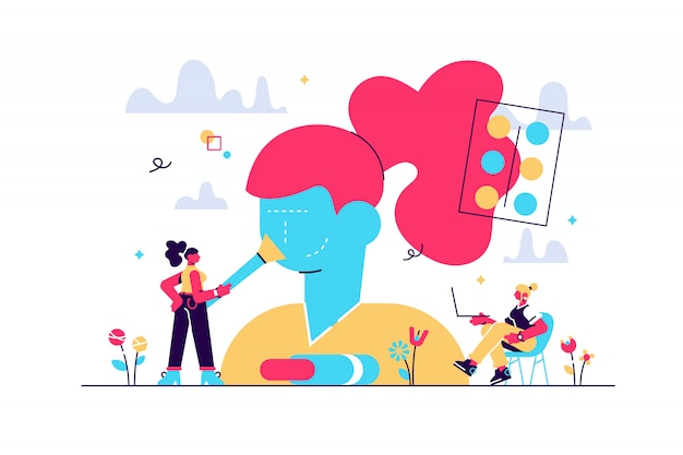 美容師のパーラーの女性。ビューティーサロンでスキンケア製品をテストする女性キャラクター。メイクアップコース、メイクアップスクール、化粧品マスタークラスのコンセプト。孤立したコンセプトクリエイティブイラスト Premiumベクター