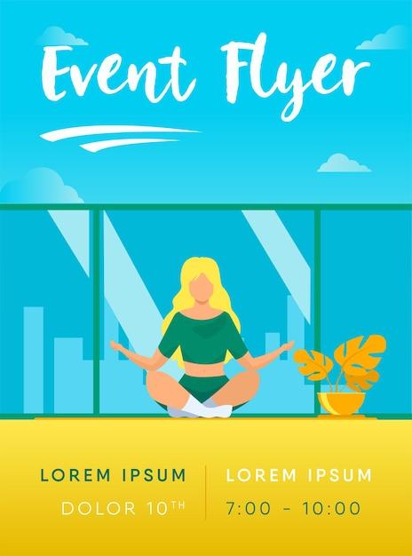 Женщина в удобной позе для шаблона флаера для медитации Бесплатные векторы