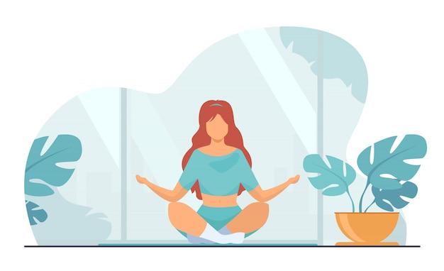 Женщина в удобной позе для медитации Бесплатные векторы