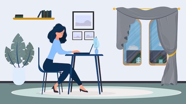 眼鏡の女性は、オフィスのイラストのテーブルに座っています Premiumベクター