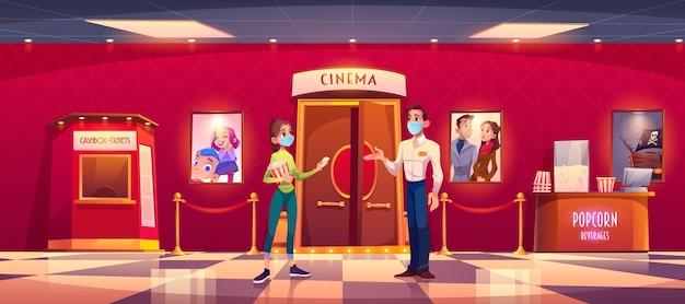 마스크의 여자는 코로나 전염병 동안 영화관을 방문합니다. 팝콘과 어린 소녀는 현금 상자, 만화와 함께 영화관 로비에서 홀 입구의 마스크 맨 컨트롤러 앞에 티켓을 제공합니다. 무료 벡터
