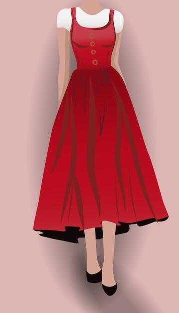 Женщина в красном платье, черные туфли на высоких каблуках и белая блузка под ним Premium векторы