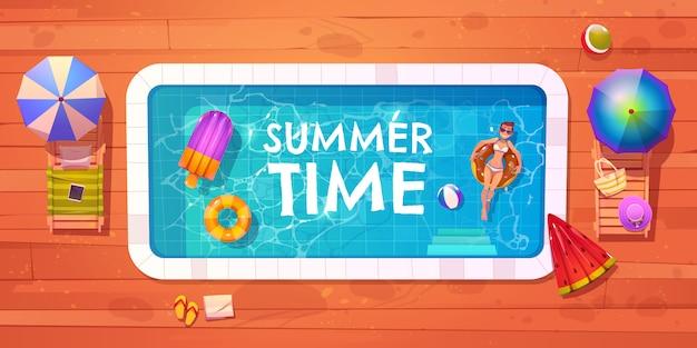 수영장 평면도에 여자, 여름 시간 휴식 무료 벡터
