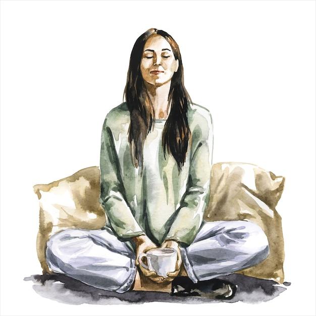 Женщина в позе лотоса во время медитации Premium векторы