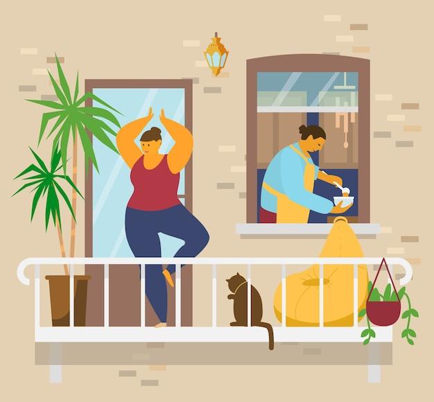 猫と植物と一緒にバルコニーでヨガをしている木のポーズの女性、キッチンの窓のボウルにエプロンの貧しい人々のスープの男性。ホームアクティビティ。家にいるコンセプト。平らな Premiumベクター