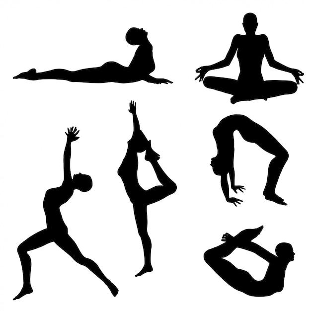 Женщина в позе йоги Premium векторы