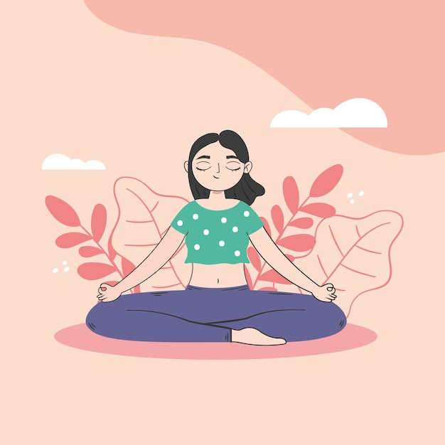 Женщина в концепции положения йоги Бесплатные векторы