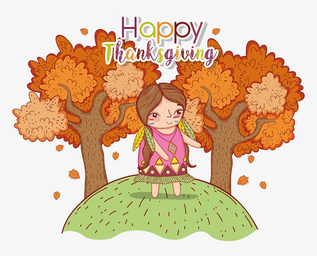 Woman indigenous with autumn trees and leaves Premium Vector