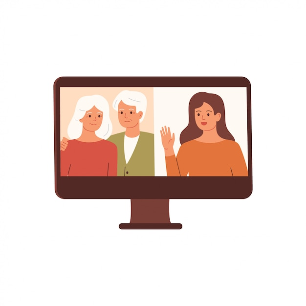 女性は両親とビデオ会議をしています。家族のビデオ通話、遠くの会話。ベクター Premiumベクター