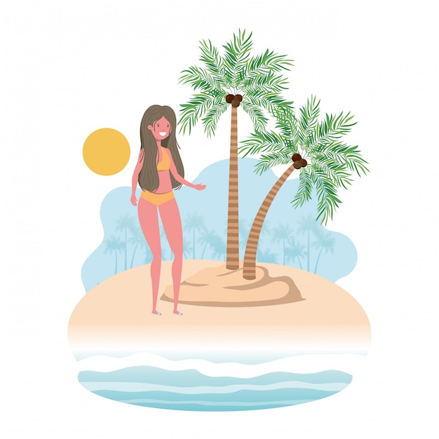 Woman on island with swimsuit and palms Free Vector