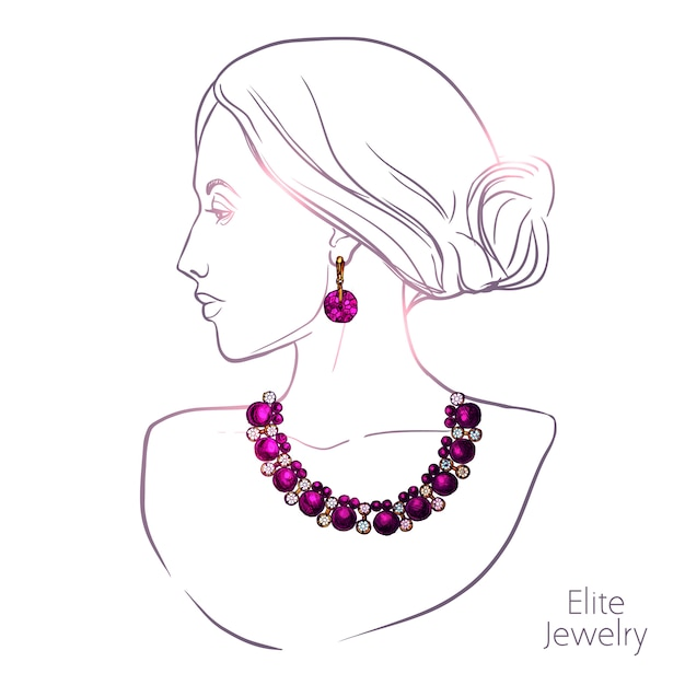Woman and jewelry Free Vector