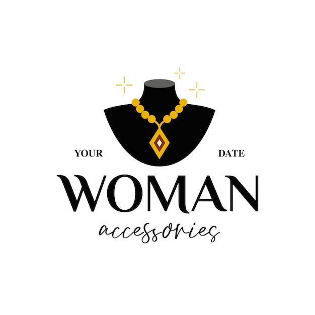 女性の宝石とアクセサリーのロゴ Premiumベクター