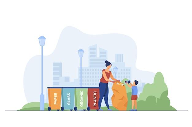 Donna e bambino che smistano i rifiuti. persone in possesso di sacchetto della spazzatura vicino a diversi bidoni piatto illustrazione vettoriale. smistamento dei rifiuti, concetto di raccolta dei rifiuti Vettore gratuito