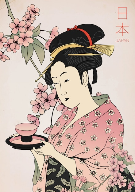 Woman in a kimono holding a teacup. traditional japanese style. geisha costume. Premium Vector