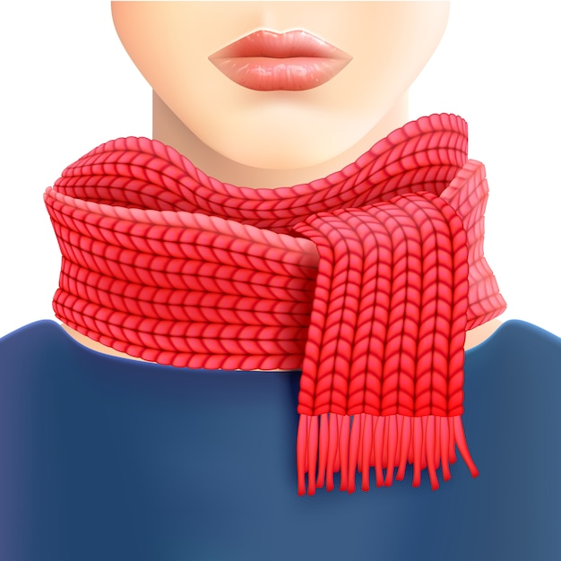 Woman knitted red scarf ad print Free Vector