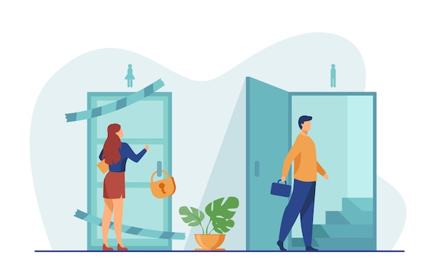 Woman knocking to locked and closed door Free Vector