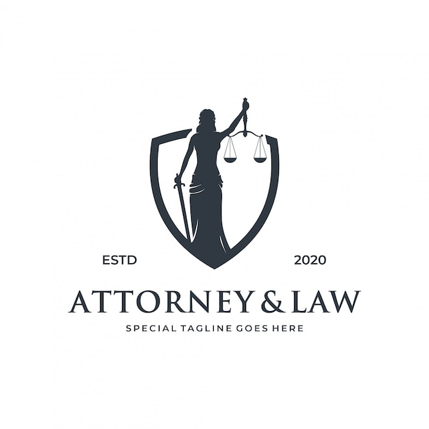 Woman / lady law logo concept with shield element. Premium Vector