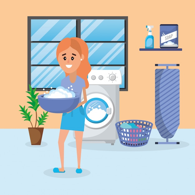 Woman on laundry Premium Vector