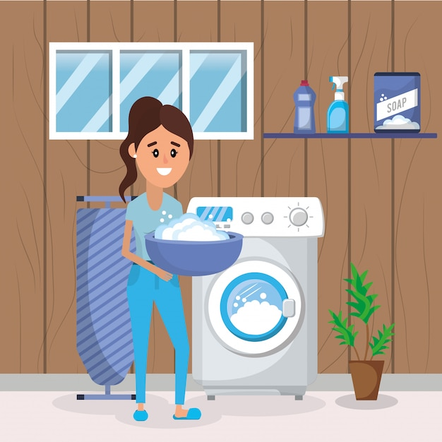 Woman on laundry Premium Vector
