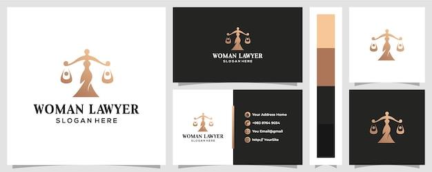 Дизайн логотипа женского права с концепцией визитной карточки Premium векторы