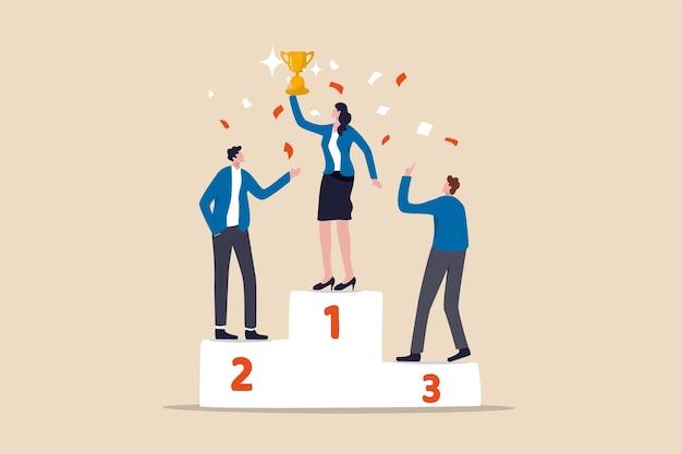 女性のリーダーシップ、企業やチームを率いてビジネス目標を達成するための女性の力 Premiumベクター