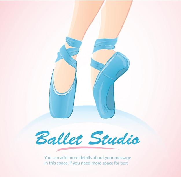 Woman leg ballerina background Premium Vector