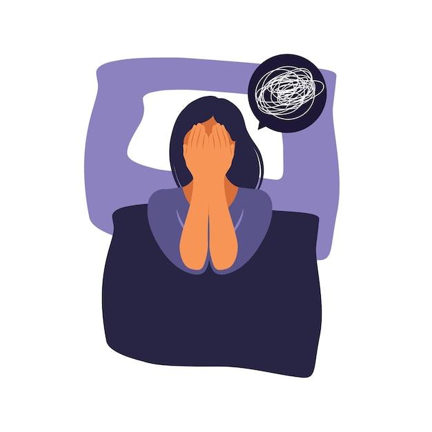 女性はベッドに横になって考えます。うつ病、不眠症、欲求不満、孤独、問題の概念。 Premiumベクター