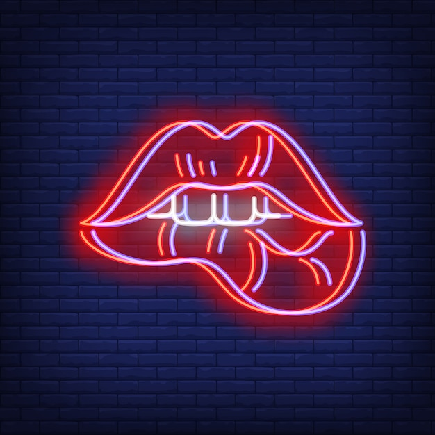Woman lips biting neon sign with chromatic aberration effect Free Vector