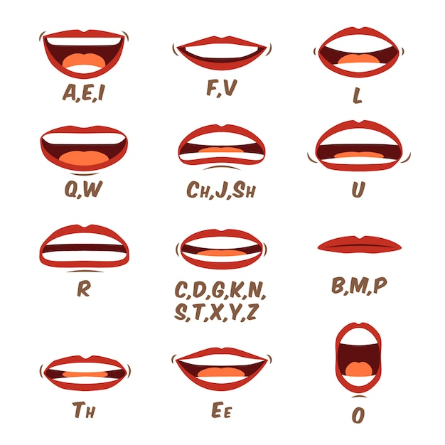 Woman lips and tongue sync set for animation and sound pronunciation. female human mouth cartoon collection in a flat cartoon style. character face elements. illustration in a trendy design. Premium Vector