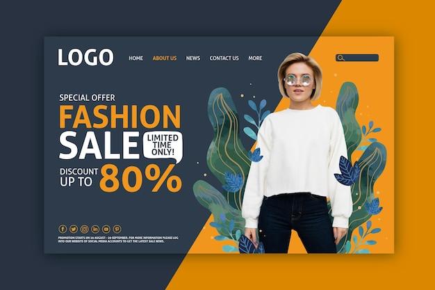 La donna e l'effetto liquido lascia la vendita di moda sulla landing page Vettore gratuito