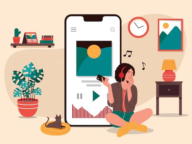 Woman listen music streaming illustration Premium Vector