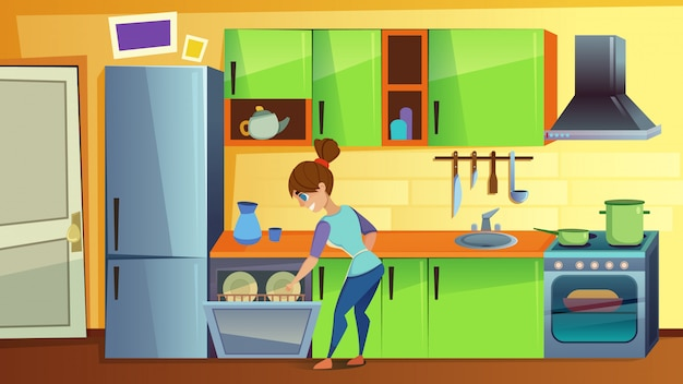 Woman load dirty dishes in dishwasher on kitchen Premium Vector