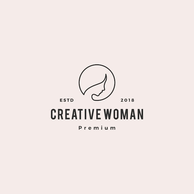 Woman logo vector icon illustration line outline monoline Premium Vector