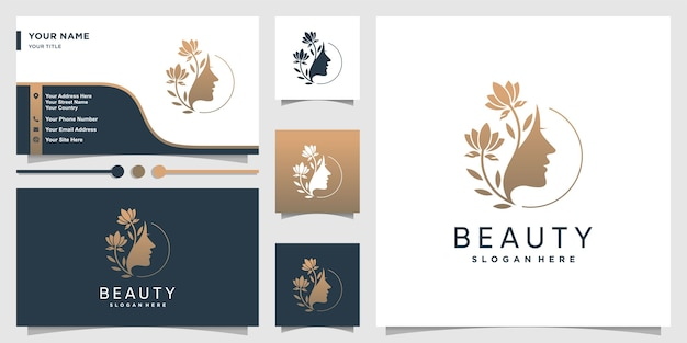 Woman logo with beauty gradient concept and business Premium Vector