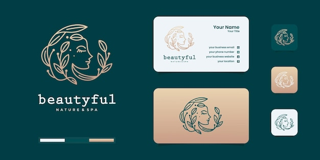 Woman logo with beauty gradient concept logo. elegant woman face's logo design templates. Premium Ve