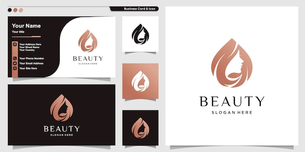 Woman logo with beauty modern style and business card design template Premium Vector
