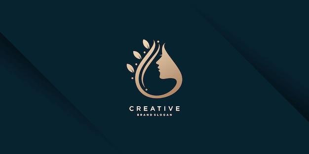 Woman logo with creative unique concept premium vector