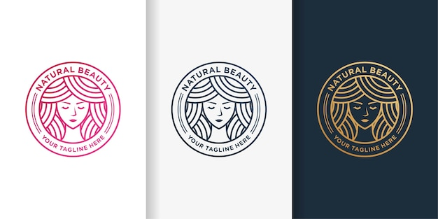 Woman logo with golden beauty emblem line art style and business card design template Premium Vector