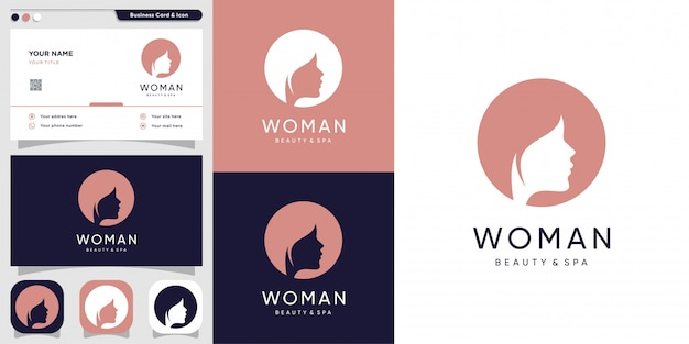 Woman logo with silhouette face and business card design template, line, woman, beauty, face, Premium Vector