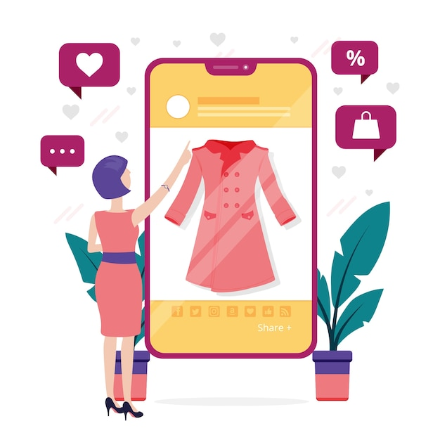 Woman looking at clothes online on mobile phone Free Vector
