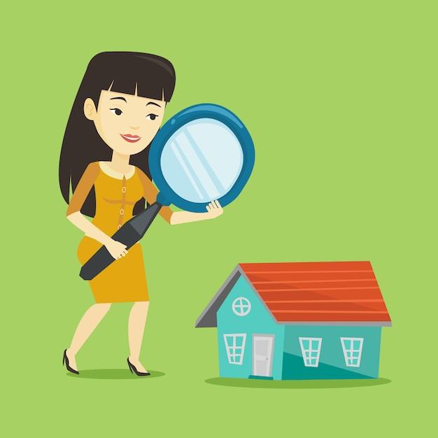 家を探している女性 Premiumベクター