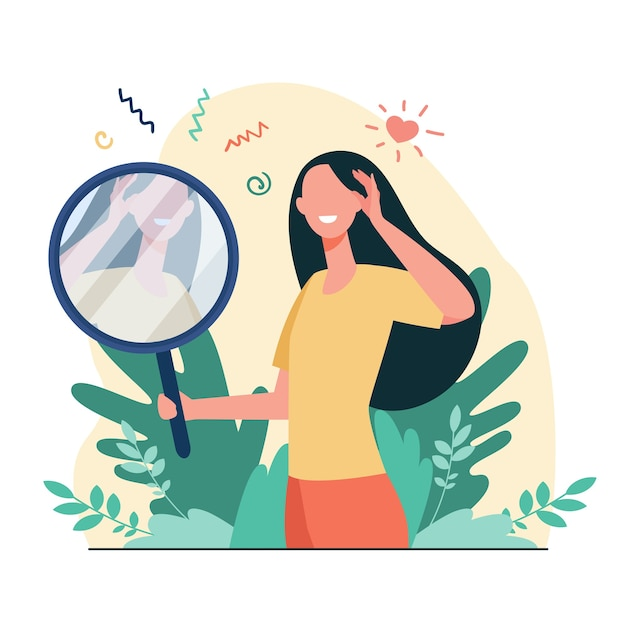 Woman looking at mirror flat vector illustration. cartoon beautiful female characters smiling to her reflection. love of self, ego and narcissism concept Free Vector