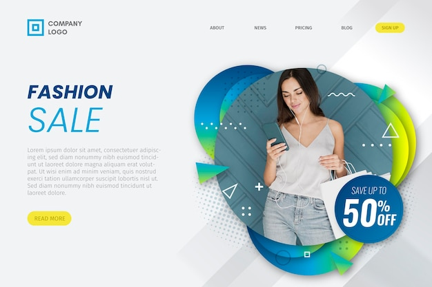 Woman looking at phone fashion sale landing page Free Vector | mobile ux
