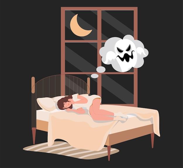 夜ベッドに横たわって幽霊と悪夢を見る女性 Premiumベクター